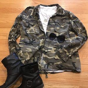 RHYME & ECHO Lightweight CAMO Studded Jacket Sz L